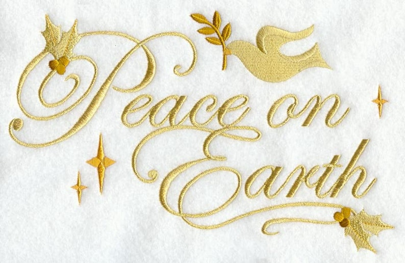 PEACE ON EARTH   Embroidery on  Sweat or Tee by Rosemary image 0