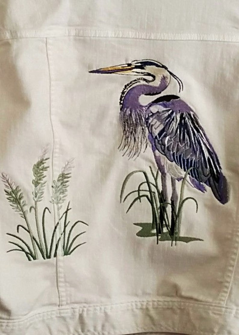BLUE HERON EMBROIDERY on Tee or Sweatshirt by Rosemary image 0
