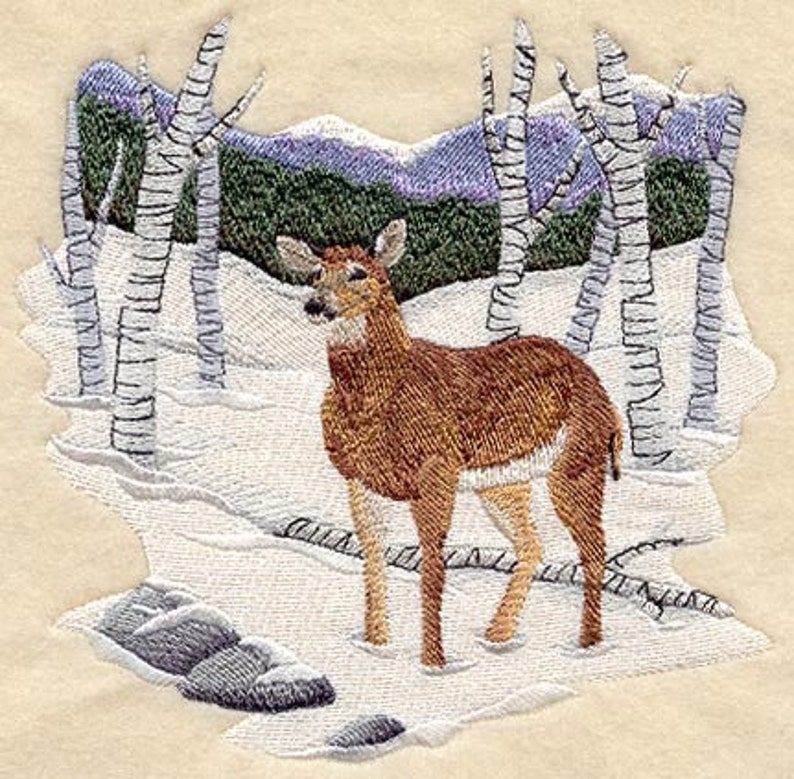 WINTER DEER EMBROIDERY on   Sweat or Tee by Rosemary image 0