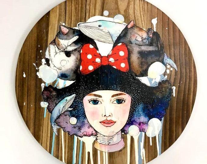 custom made-animals painting on wood