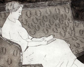 Reading: wall art decor, portrait woman, a hand pulled limited edition etching in black and white.