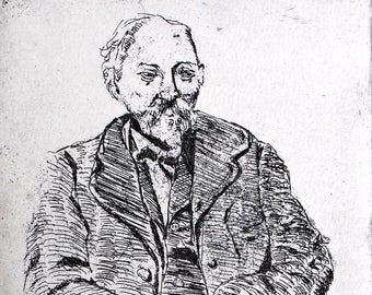 Cezanne, a hand pulled limited edition etching, portrait of the artist, in black and white
