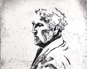 Chagall, a hand pulled limited edition etching, portrait of the artist, in black and white