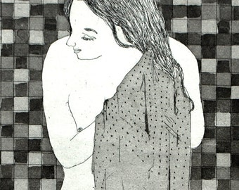 The Bath: wall art decor, portrait woman, a hand pulled limited edition etching in black and white.