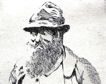 Monet, a hand pulled limited edition etching, portrait of the artist, in black and white