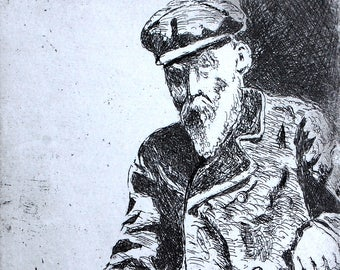 Renoir, a hand pulled limited edition etching, portrait of the artist, in black and white