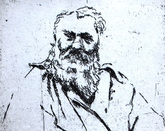 Rodin, a hand pulled limited edition etching, portrait of the artist, in black and white