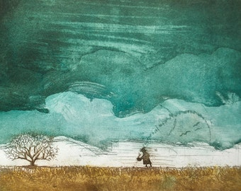 Storm Brewing, Wall Art and Home Decor, Nature: a hand pulled etching, limited edition print in color, turquoise