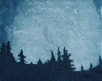 Starry Night, a hand pulled limited edition etching in color. Prussian Blue.