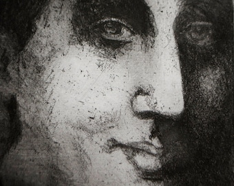 Virginia Woolf, an original etching in black and white, author portrait wall decor
