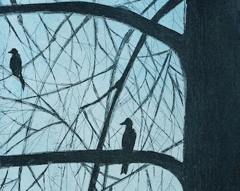 Birds on a Branch, a hand pulled limited edition etching in color. Blue.