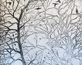Winter Trees: wall art decor, a hand pulled limited edition etching in black and white.