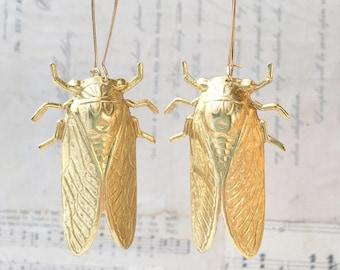 Cicada Earrings Big Gold  Beetle Earrings Nature Study Victorian Cicada  Entomologist Summer Bug Whimsical Statement Jewelry