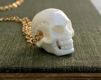 Skull Necklace Halloween Skeleton Necklace Carved Bone Skeleton Pendant Goth Halloween Day of the Dead Jewelry Anthropology Cranium Jewelry