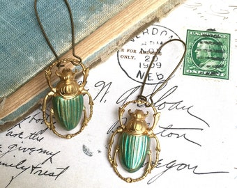 Green Beetle Earrings Gold Bug Earrings Victorian Scarab Insect Jewelry Steampunk Insect Halloween Jewelry Entomologist Gift Science Teacher