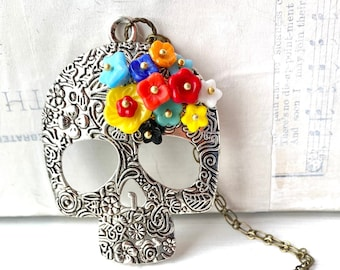 Sugar Skull Necklace Skull Necklace Day of the Dead Flower Folk Art  Spiritual Jewelry Mexican Skeleton Milagros Dia de Muertos