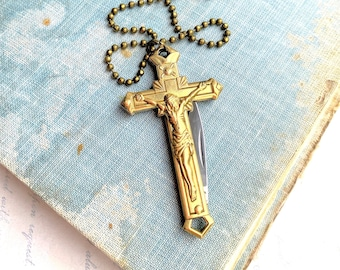 Crucifix Cross Necklace Crucifix Folding Pocket Knife Religious Pendant Goth Cross