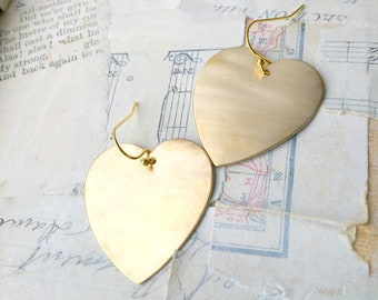 Big Heart Earrings Valentine Gold Heart Earrings Gift for Her Love Earrings Gold Charm Hearts Girlfriend Gift Heart of Gold Valentine Heart