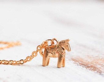 Horse Necklace Gold Horse Jewelry Equestrian Gift Swedish Dala Horse Necklace Gift for Her Christmas Horse Equine Gift Horse Lover Gift Pony