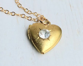Gold Heart Locket Necklace Tiny Gold Heart Necklace Rhinestone Heart Locket Bridesmaid Gift Teen Jewelry Gift for Her