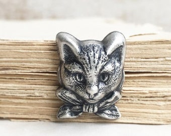 Cat Tie Tack Silver Cat Brooch Cat Pin Steampunk Kitten Vintage Wedding Hipster Groom Kitty Bow Tie Grumpy Cat Gift for Him Cat Lover