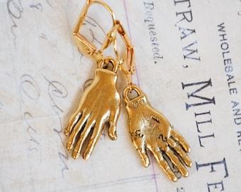 Gold Hand Earrings Gold Hand Jewelry,Whimsical Earrings,Bohemian,Horror Macabre,Costume Halloween