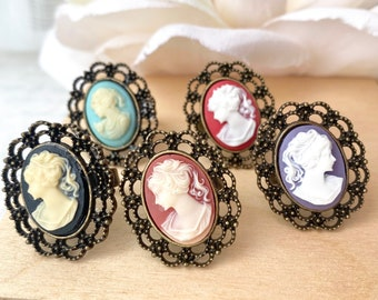 Cameo Rings Romantic Antique Style Filigree Silhouette Ring
