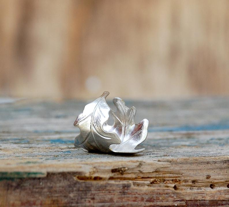 Silver LEAF Ring Romantic Autumn OAK Tree Fall Bohemian Jewelry Winter Wedding Oak Leaf Acorn