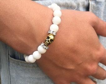 Halloween Skull Bracelet Skeleton Beaded Bracelet White Gemstone Bracelet Bohemian Skeleton Gift for Him Goth Skeleton Jewelry