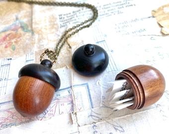 Acorn Locket Necklace Acorn Keepsake Prayer Box Acorn Necklace Urn Amulet Mourning Jewelry