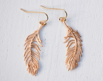 Gold Feather Earrings Woodland Nature Bird Modern Bohemian Delicate Feather Earrings Gold Boho Feather Jewelry Gift for Her Silver Feathers