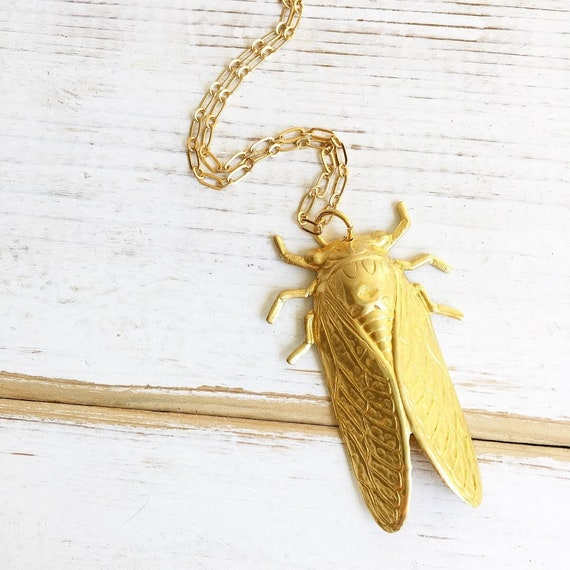 Cicada gold necklace Insect necklace Cicada jewelry Insect pendant Cicada silver pendant