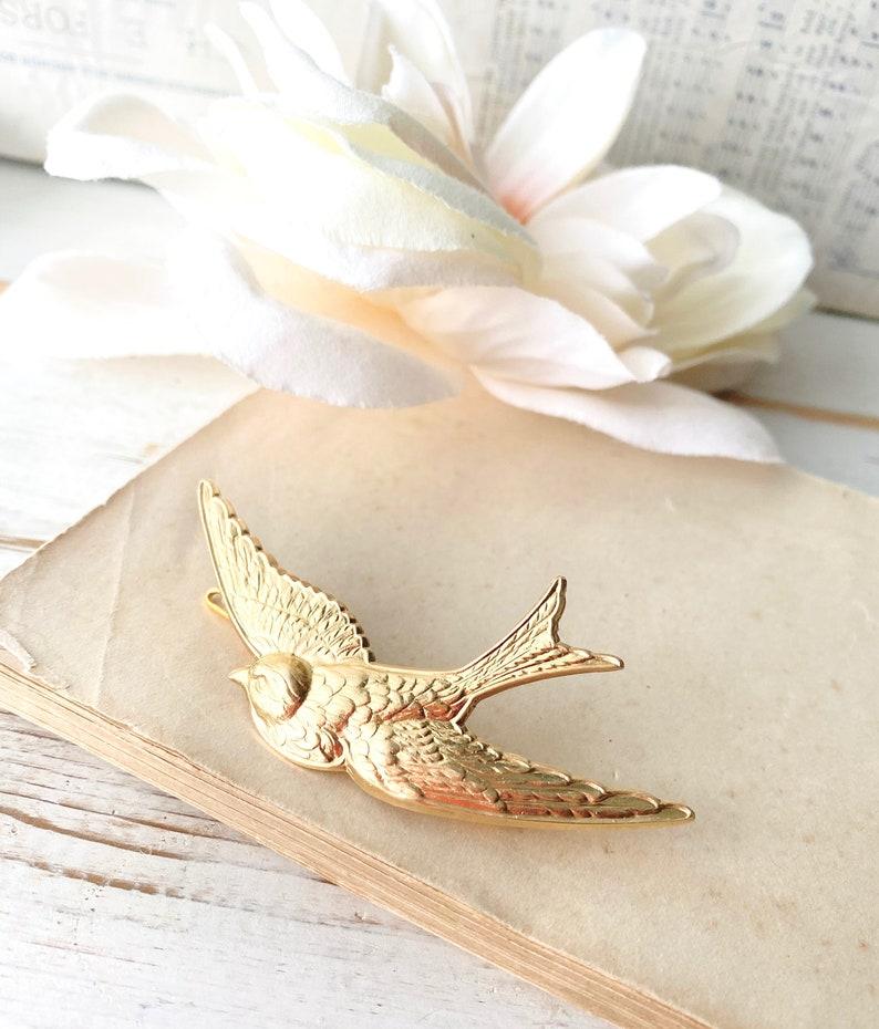 Gold Bird Barrette Bride Bridal Bridesmaid Headpiece Gold Bird Hair Pin Garden Wedding Bird Hair Clip