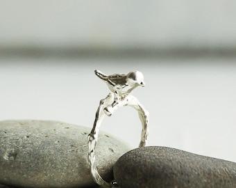 Bird Ring,Silver Bird Ring,Branch Ring,Silver Branch,Twig Ring,Bird On Branch Ring,Woodland Ring,Bridesmaid Gift,Silver Twig Ring,Woodland
