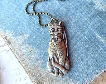 Cat Necklace Folding Pocket Knife Novelty Pendant Kitty Cat Crafter Tool Cat Lover