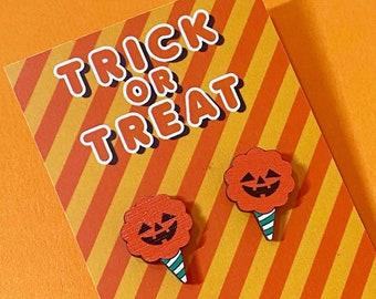Halloween Earrings - Cotton Candy Earrings - Halloween Jewellery - Cotton Candy Halloween Studs - Kawaii Candyfloss Earrings