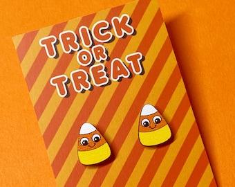 Halloween Earrings - Candy Corn Earrings - Halloween Jewellery - Candy Corn Studs - Kawaii Candy Corn Earrings