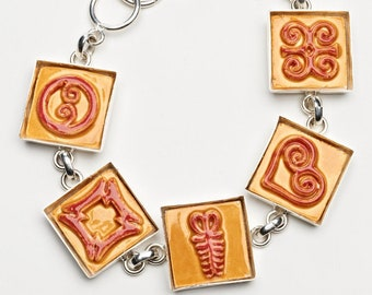 Adinkra Autumn Gold/Scarlet Adjustable Ceramic Bracelet for Anyone