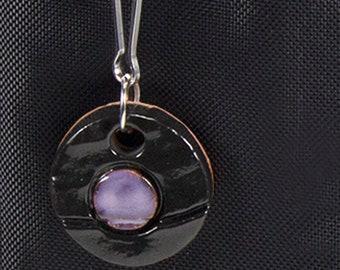 Purple & Black Handmade Ceramic Round Zipper Pull Charm