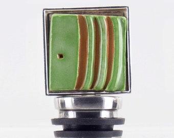 Square Green Decorative Ceramic Wine Bottle Stopper for Entertaining