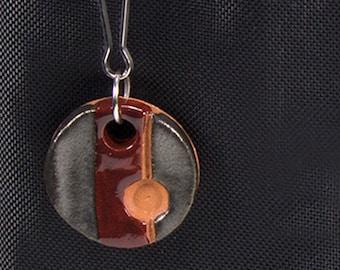 Burgundy and Steel Handmade Ceramic Round Zipper Pull Charm