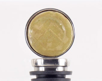 Sage Green Decorative Ceramic Wine Bottle Stopper for Entertaining