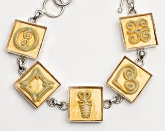Adinkra Dandelion-Sage Green Adjustable Ceramic Bracelet for Anyone