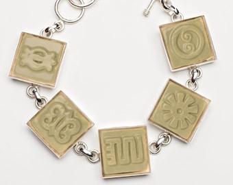 Adinkra Sage Green Adjustable Ceramic Bracelet for Anyone