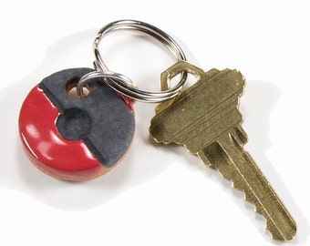 Black and Red Handmade Round Ceramic Key Chain for Anyone