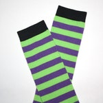 Purple and Green Striped Halloween Baby Toddler Leg Warmers