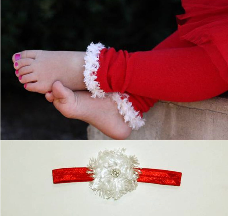 Red and White Christmas Baby Toddler Leg Warmers and Headband image 0