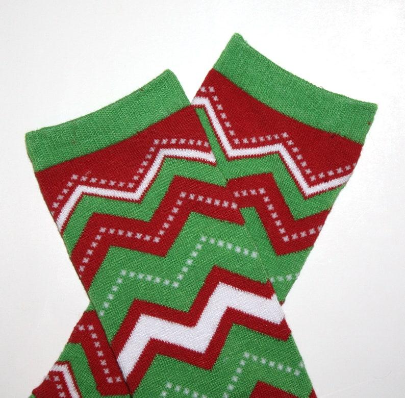 Newborn Chevron Christmas Baby Leg Warmers image 0