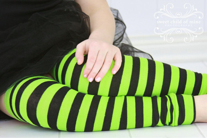 Green and Black Striped Girls Leg Warmers image 0