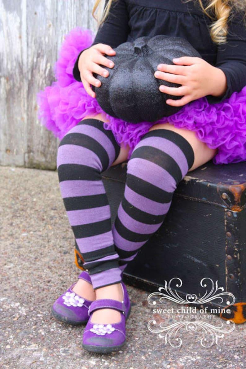 Purple and Black Striped Halloween Baby Leg Warmers image 0